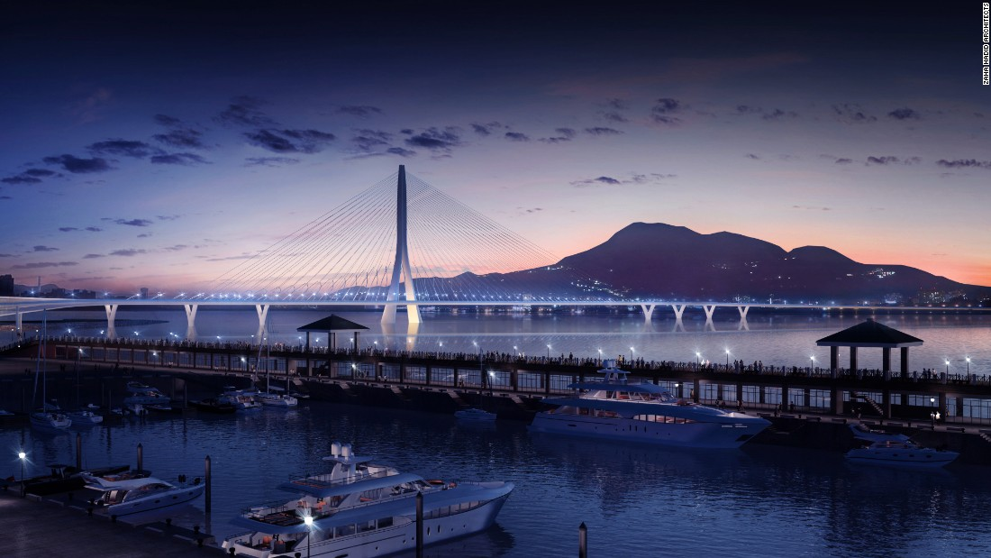 "At just over 3,000 ft, the Danjiang Bridge -- one of the last commissions awarded to the late <a href=""http://edition.cnn.com/2016/03/31/architecture/zaha-hadid-appreciation/"">Zaha Hadid</a> -- will be the world's longest single-tower, asymmetric cable-stayed bridge, according to <a href=""http://www.zaha-hadid.com/"" target=""_blank"">the firm</a>. <br /><br />The subtle design is meant to have visual impact without obscuring the Taipei sunset."