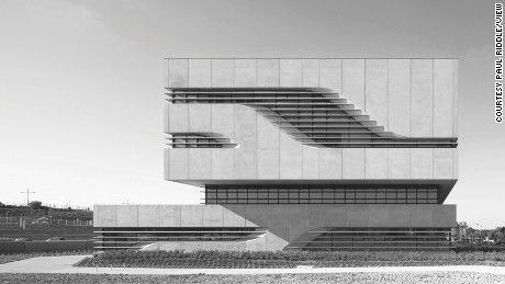 Pierresvives, Montpellier, France. Architect: Zaha Hadid Architects, 2012. Pierres Vives, north elevation with square cornered facade.