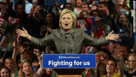 Democratic presidential candidate Hillary Clinton delivers remarks at a primary night campaign event April 26, in Philadelphia, Pennsylvania.