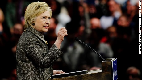 Democratic presidential candidate Hillary Clinton addresses supporters during a primary night event on April 26 in Philadelphia after winning the Pennsylvania state primary.