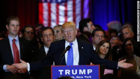 US Republican presidential frontrunner Donald Trump speaks at Trump Tower in New York on April 26,2016 after winning primaries in Pennsylvania, Maryland, Connecticut, Rhode Island and Delaware.