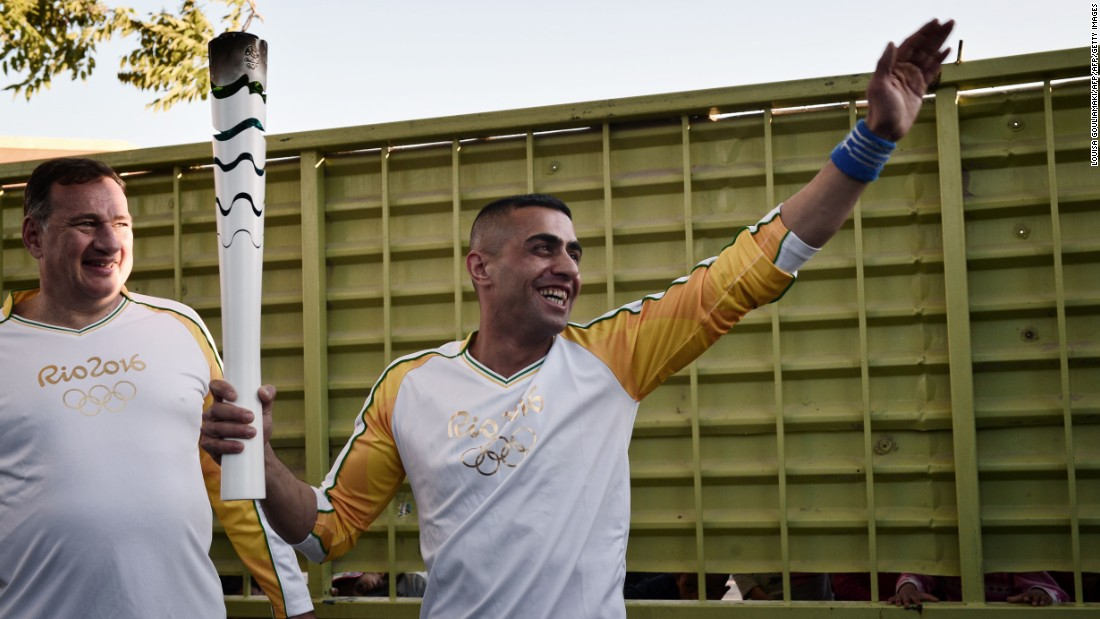 The torch has since been working its way towards Rio and has been carried by numerous athletes and dignitaries. Syrian refugee and amputee swimmer, Ibrahim al-Hussein, passed through the Eleonas refugee camp in Athens with the flame on April 26.