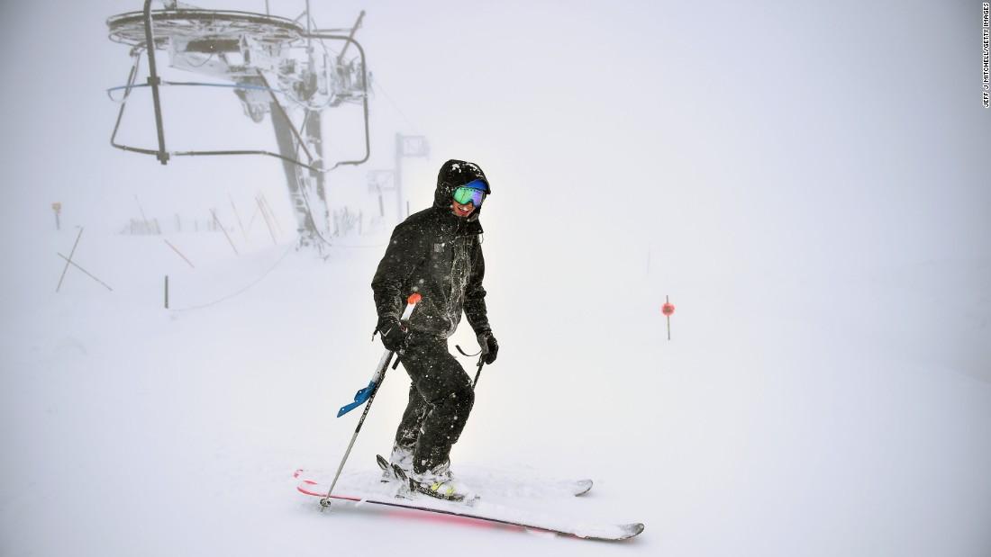 A skier enjoys fresh snow in Aviemore, Scotland, on Tuesday, April 26.