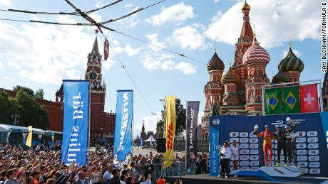 Nelson Piquet Jr (BRA)/China Racing - Spark-Renault SRT_01E, Lucas di Grassi (BRA)/Audi Abt Sport - Spark-Renault SRT_01E & Sebastien Buemi (SWI)/E.dams Renault - Spark-Renault SRT_01E on the podium Moscow e-Prix, Moscow, Russia. Saturday 6 June 2015.