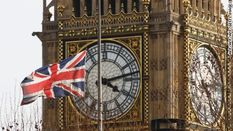 A Union flag is pictured at half mast in front of Big Ben at the Houses of Parliament after the ceremonial funeral of British former prime minister Margaret Thatcher in central London on April 17, 2013.  The funeral of Margaret Thatcher took place on April 17, with Queen Elizabeth II leading mourners from around the world in bidding farewell to one of Britain's most influential and divisive prime ministers.  AFP PHOTO / JUSTIN TALLIS        (Photo credit should read JUSTIN TALLIS/AFP/Getty Images)