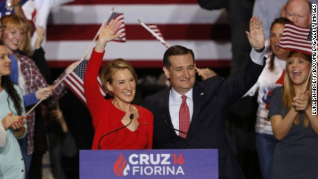Carly Fiorina, former chairman and chief executive officer of Hewlett-Packard Co., left, and Senator Ted Cruz, a Republican from Texas and 2016 presidential candidate, wave to attendees during a campaign rally in Indianapolis, Indiana, U.S., on Wednesday, April 27, 2016. Cruz picked Fiorina to be his vice presidential candidate if he secures the Republican nomination, according to two people familiar with the decision. Photographer: Luke Sharrett/Bloomberg via Getty Images