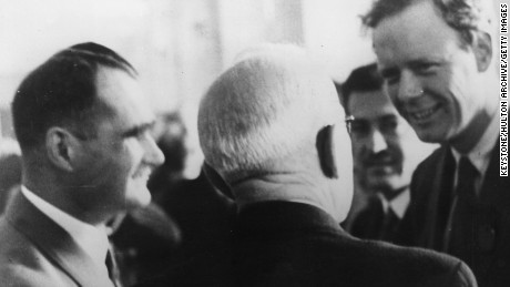 14th October 1937:  Aviator Charles Lindbergh (1902 - 1974) in conversation with Hitler's deputy Rudolf Hess (on the left) (1894 - 1987) at the Lilienthal Aeronautical Society Congress in Munich.  (Photo by Keystone/Getty Images)