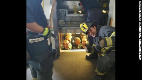 Kansas City Missouri Fire Department shared this image of police being rescued from a stuck elevator.