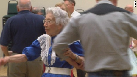 94-year-old Muriel Shallcross meets fellow members of the Buoys and Gulls square dance club regularly. She participates in all the dances and activities.