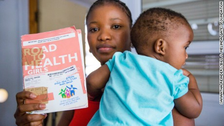 Home-based child health records capture a child's immunization history; this card belongs to 7-month-old Alinamda who was in for her monthly check-up at the Mbekweni Clinic in Paarl, South Africa.
