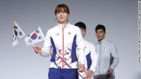 SEOUL, SOUTH KOREA - APRIL 27:  South Korean Olympians and models pose during the Official Uniform Launch at Taereung National team training center on April 27, 2016 in Seoul, South Korea. Today marks 100 days until the start of the 2016 Rio Olympic Games.  (Photo by Chung Sung-Jun/Getty Images)