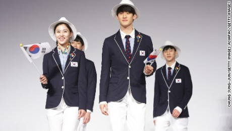 South Korean Olympians and models pose during the uniform launch, April 27, Seoul.