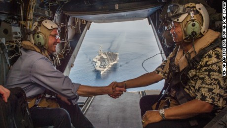 160415-D-DT527-963SOUTH CHINA SEA (April 15, 2016) Secretary of Defense (SECDEF) Ash Carter (left) and Philippine Secretary of National Defense Voltaire Gazmin (right) shake hands on a Marine Corps V-22 Osprey as they depart the the aircraft carrier USS John C. Stennis (CVN 74) after touring the aircraft carrier as it sails the South China Sea April 15, 2016. Carter is visiting the Philippines to solidify the rebalance to the Asia-Pacific region. (U.S. Air Force photo by Senior Master Sgt. Adrian Cadiz/Released)