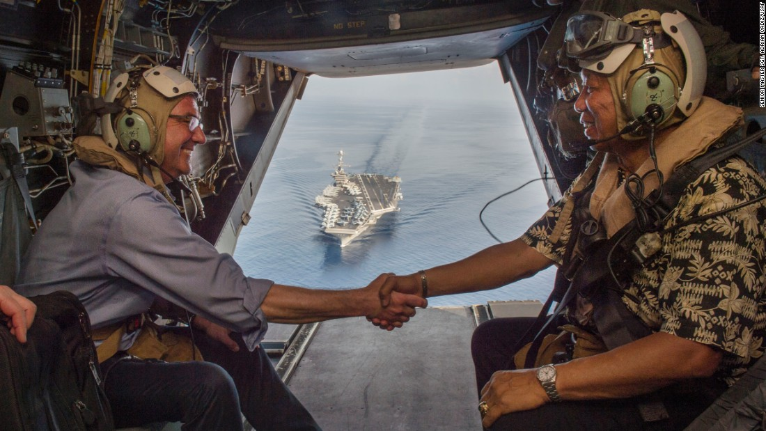U.S. Secretary of Defense Ash Carter (left) and Philippine Secretary of National Defense Voltaire Gazmin shake hands on a Marine Corps V-22 Osprey as they depart the the aircraft carrier USS John C. Stennis (CVN 74) after touring the aircraft carrier as it sailed in the South China Sea on April 15, 2016. The Pentagon announced on Friday that China has denied the Stennis a port call in Hong Kong. Click through the gallery to see other Navy carriers.