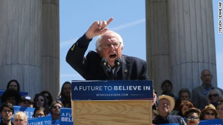 Democratic presidential candidate Sen. Bernie Sanders, I-Vt., speaks during a rally in Roger Williams Park, Sunday, April 24, 2016, in Providence, R.I. (AP Photo/Steven Senne)