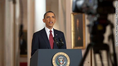 President Barack Obama delivers a statement in the East Room of the White House on the mission against Osama bin Laden, May 1, 2011.