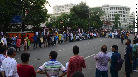 Bangladeshi protesters demonstration on April 29 against the recent hacking death of a university professor in Dhaka.
