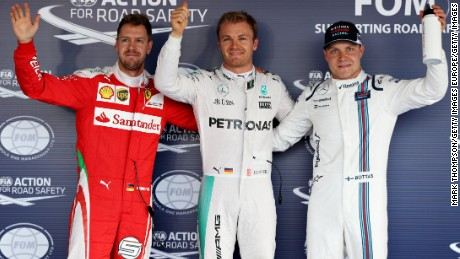 SOCHI, RUSSIA - APRIL 30: Top three qualifiers, Nico Rosberg of Germany and Mercedes GP, Sebastian Vettel of Germany and Ferrari and Valtteri Bottas of Finland and Williams celebrate in parc ferme during qualifying for the Formula One Grand Prix of Russia at Sochi Autodrom on April 30, 2016 in Sochi, Russia.  (Photo by Mark Thompson/Getty Images)