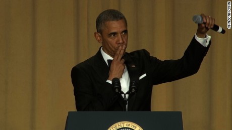 Pres. Obama literally drops the mic to end his final White House Correspondents' Dinner. (April 30, 2016)