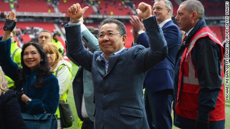 MANCHESTER, ENGLAND - MAY 01:  Chairman of Leicester City Vichai Srivaddhanaprabha acknowledges the fans after the Barclays Premier League match between Manchester United and Leicester City at Old Trafford on May 1, 2016 in Manchester, England.  (Photo by Michael Regan/Getty Images)
