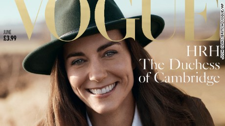 Kate, the Duchess of Cambridge poses  for British Vogue magazine's centenary issue.