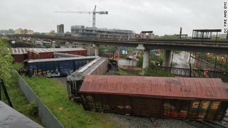 A CSX train derailing in DC.