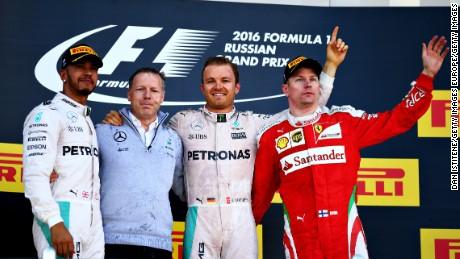 Lewis Hamilton, Nico Rosberg and Kimi Raikkonen celebrate on the podium