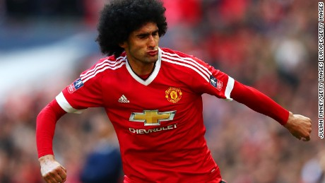 LONDON, ENGLAND - APRIL 23: Marouane Fellaini of Manchester United celebrates scoring the opening goal during The Emirates FA Cup semi final match between Everton and Manchester United at Wembley Stadium on April 23, 2016 in London, England.  (Photo by Julian Finney/Getty Images)
