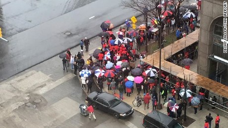 Ebony Miller took this photo of a rally outside the Detroit Public Schools headquarters on Monday.