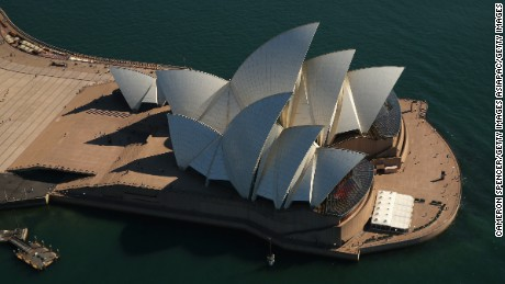 SYDNEY, AUSTRALIA - APRIL 28:  A view of the Sydney Opera House from the Appliances Online blimp on April 28, 2016 in Sydney, Australia. The Appliances Online blimp is the only blimp currently flying in the Southern Hemisphere. Ten years old and with over 14,000 flying hours around the world - including an appearance in London during the 2012 Olympics - the blimp is as long as three school buses, over 13 metres tall and contains enough helium to fill 136,000 party balloons. A crew of 13 supports the blimp that is always inflated, with at least one person monitoring the vessel at any time, including when its grounded. Chief Pilot Mark Finney has been flying airships around the globe for 15 years navigating above dozens of countries including Japan, India, North America, Canada, Western Europe, Denmark, Norway, Poland, Portugal, Spain.  (Photo by Cameron Spencer/Getty Images)