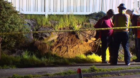 A six foot sinkhole opened up near a home in Seattle.