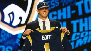 Apr 28, 2016; Chicago, IL, USA; Jared Goff (California) is selected by the Los Angeles Rams as the number one overall pick in the first round of the 2016 NFL Draft at Auditorium Theatre. Mandatory Credit: Jerry Lai-USA TODAY Sports