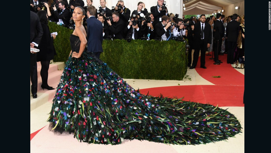 Actress Zoe Saldana is pictured wearing an extravagant outfit by Dolce & Gabbana.