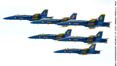 The Blue Angels perform in April 2016.