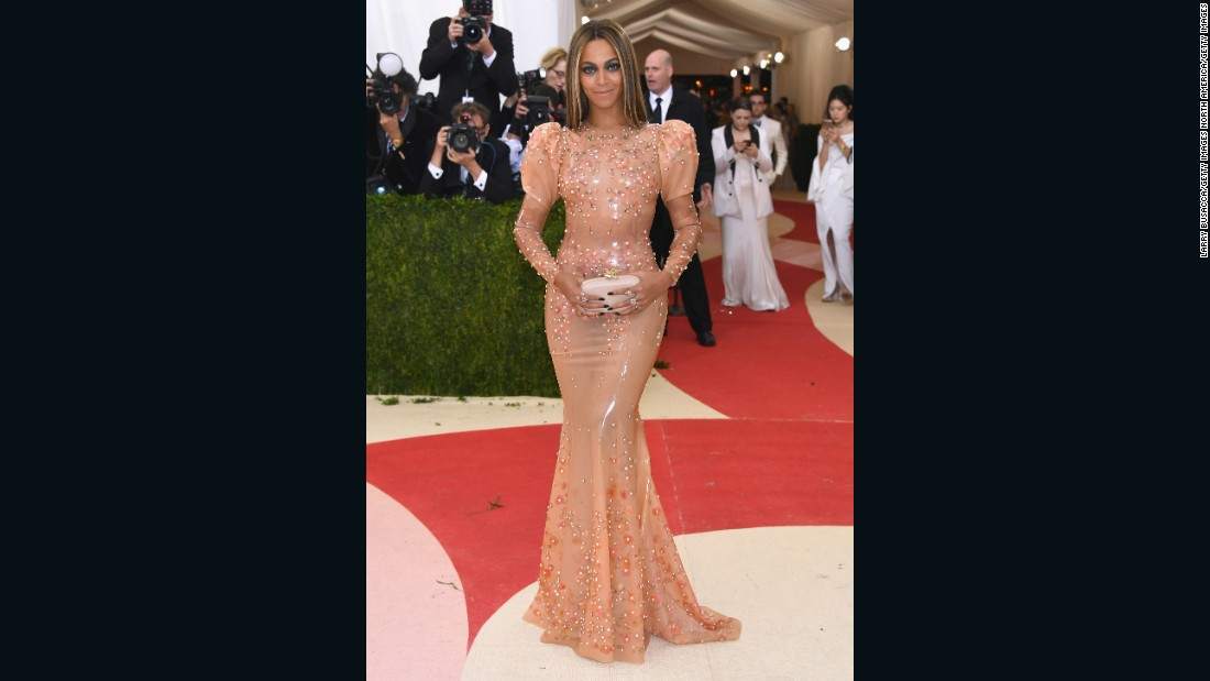 The stars are out for this year's Met Gala, which blends fashion with the theme of technology. Singer Beyonce is pictured here wearing a fitted gown by Givenchy.