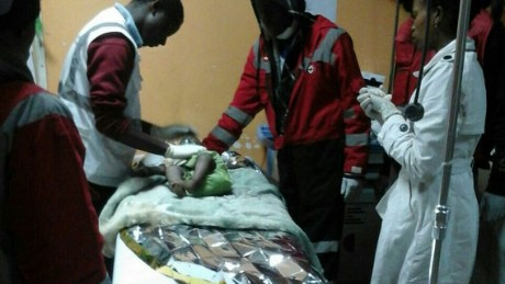 A baby girl receives treatment after being rescued after 80 hours trapped in the rubble of a building in Nairobi, Kenya.