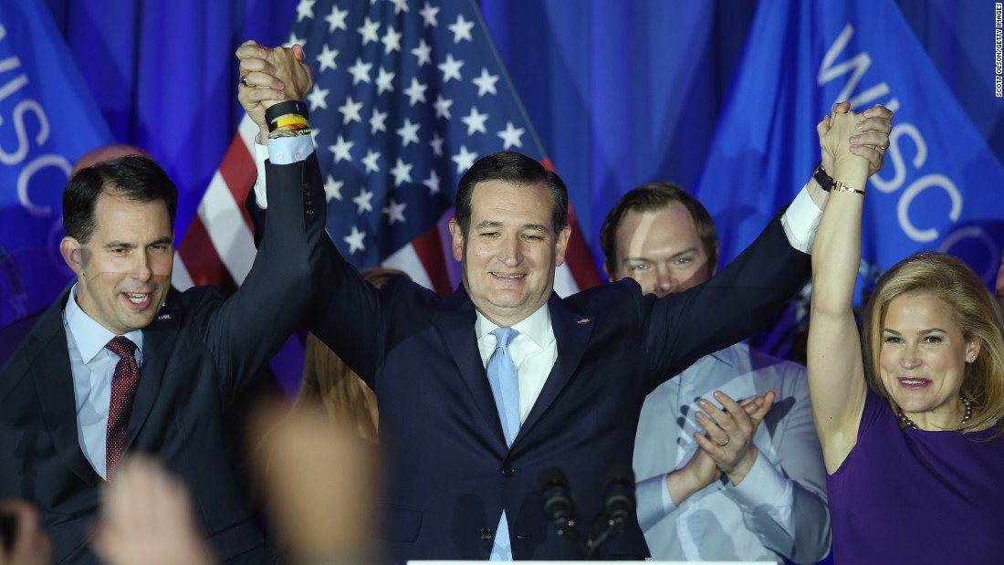 Cruz celebrates his Wisconsin primary win with his wife, Heidi, and Gov. Scott Walker in Milwaukee on Tuesday, April 5. Walker endorsed Cruz for the presidency.