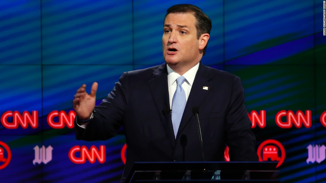 Cruz speaks during the CNN Republican debate in Miami on Thursday, March 10.