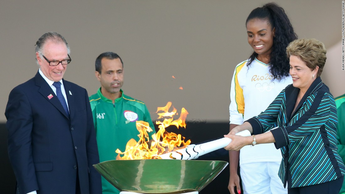Brazilian president Dilma Rousseff then relit the Olympic torch on May 3. The flame has since passed through 329 cities on its way to Rio de Janeiro.