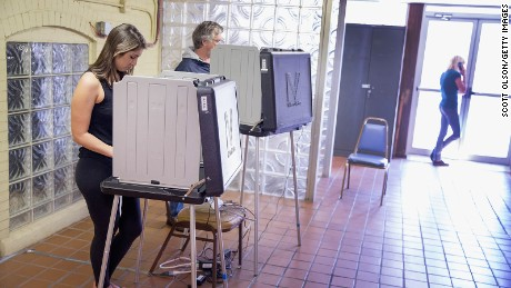 Voters cast their ballots at a polling place on May 3, 2016 in Whiting, Indiana.
