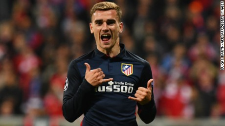 Atletico Madrid's French forward Antoine Griezmann celebrates scoring during the UEFA Champions League semi-final, second-leg football match between FC Bayern Munich and Atletico Madrid in Munich, southern Germany, on May 3, 2016. / AFP / LUKAS BARTH        (Photo credit should read LUKAS BARTH/AFP/Getty Images)