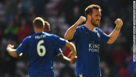 SUNDERLAND, UNITED KINGDOM - APRIL 10:  Christian Fuchs of Leicester City celebrates after victory in the Barclays Premier League match between Sunderland and Leicester City at the Stadium of Light on April 10, 2016 in Sunderland, England.  (Photo by Shaun Botterill/Getty Images)