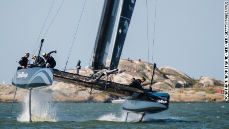 RESTRICTED TO EDITORIAL USE SoftBank Team Japan, skippered by Dean Barker, competes in the first day of races of the 35th America's Cup World Series, in Gothenburg, western Sweden on August 29, 2015. AFP PHOTO / JONATHAN NACKSTRAND        (Photo credit should read JONATHAN NACKSTRAND/AFP/Getty Images)