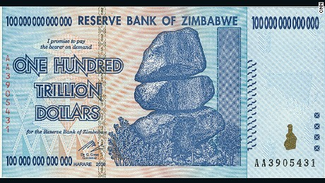 A photo of the one hundred trillion dollar note, issued by Gideon Gono, who was the Reserve Bank of Zimbabwe's governor from 2003-2013. The note is now out of action after massive devaluation of the Zimbabwe currency spiralled out of control in 2009.