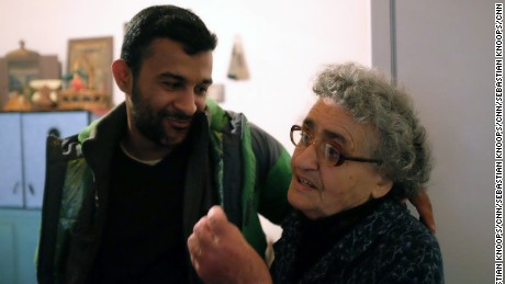 82-year-old Greek grandmother Panagiota Vasileiadou has opened up her home in Idomeni to five young Syrian refugees. Sebastian Knoops/CNN