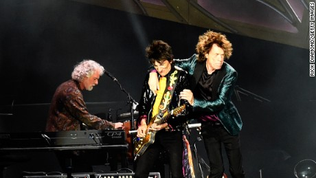 """Rolling Stones keyboardist Chuck Leavell, Mick Jagger and Ronnie Wood of """"The Rolling Stones"""" perform during The Rolling Stones North American """"ZIP CODE"""" Tour in Nashville, Tennessee on June 17, 2015."""