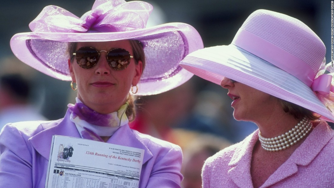 We'll never know if their horse won. But the pink and pearls combo is a 1990s winner.