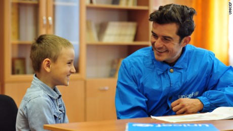 On 28 April 2016, Artem, 9, a pupil at School #2 in Myronivskyi, just kilometres from the frontline in Eastern Ukraine, meets with UNICEF Goodwill Ambassador Orlando Bloom. Kids are deeply affected by the conflict.  The pages of Artem;s drawing book are filled with military images -- guns, soldiers, tanks.  He envisions himself as a superhero.  When he grows up he wants to be a ninja -- a golden ninja at that - to keep his family safe from the bad guys. UNICEF Goodwill Ambassador Orlando Bloom visits School #2 in Myronivskyi, just kilometres from the frontline in Eastern Ukraine.  The school's basement served as a bomb shelter for the community during heavy bombardment in January and February 2015.  The school originally had 800 pupils and now has 250, after people fled the area.Across the conflict area, approximately 580,000 children are in urgent need of aid and more than 230,000 children have been forced from their homes. Around one in five schools and kindergartens in the region have been damaged or destroyed and around 300,000 children are in immediate need of assistance to continue their education.  The trip came as new findings show that nearly a quarter of the world's school-aged children -- 462 million -- now live in countries affected by crisis.At the very first World Humanitarian Summit in Istanbul in less than three weeks' time, a  groundbreaking new fund  - the Education Crisis Platform - will be launched to get vital education to every child in need. It aims to raise nearly $4 billion to reach 13.6 million children in need of education in emergencies within 5 years, before reaching 75 million children by 2030.  In eastern Ukraine, and in emergencies across the world, UNICEF is working around the clock to get children back to learning -- to keep them safe and secure their futures. UNICEF so far has supported the repair and rehabilitation of 57 schools in eastern Ukraine and has supplied hundreds of thousands of children on all sides of t