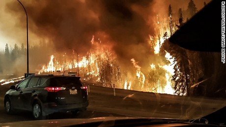 The wildfire rages through the town of Fort McMurray on Tuesday, May 3.