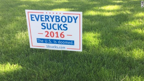 'Everybody Sucks' campaign sign gets neighborhood's attention